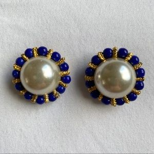 Vintage Faux Pearl Statement Earrings Clip Ons
